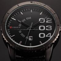 CURREN Fashion Black Men Watches Men's Date Analog Army Military Leather Strap Quartz Sports Watch