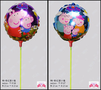 New HOT SELL 8.5inch Peppa Pig foil balloon within stick small children toy balloon