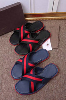 2014 new High Quality Men Brand Leisure Flip Flops Slippers Soft Leather Male Casual Flat Slides gg shoes