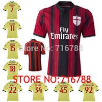 TOP Thai Quality AC Milan Home Jersey 14 15 KAKA Balotelli Shaarawy Robinho Emanuelson Montolivo AC Milan Away Football Jersey