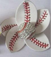 Baseball Flower Accessory and hair clip,baseball hair bows