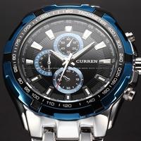 2014 Curren Blue Dial Fashion Full Steel Luxury Sport Quartz Clock Men Wrist Watch 3ATM waterproof Relogio