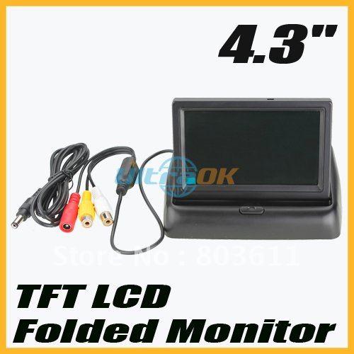 "Good new 4.3"" TFT LCD Mini Car Auto Monitor Folded Security Camera Black free shipping NW(China (Mainland))"
