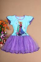 Stock!2014 Frozen Girl Elsa & Anna Princess childrens dresses 1lot=5pcs summer baby clothing frozen party dress clothes  A-016