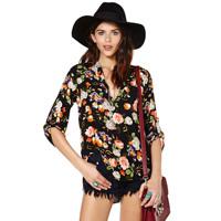 Multi-colored flower print black V-neck long-sleeve shirt women summer blouse fashion 2014