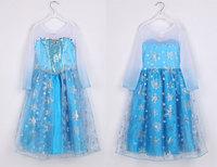 IN STOCK!! Frozen ice princess dress girls dress Elsa Romance Aisha Children Dress Long sleeve yarn children dresses freeship