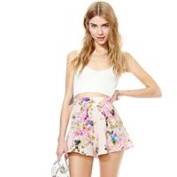 Ink print loose pants high waist satin quality chiffon female shorts summer 2014 fashion