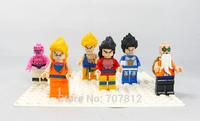 2014 Box Dragonball Z GT Action Figures 6PCS/Set  PVC Cute  Dragon Ball Goku/Buu Building Blocks Best Gift Free Shipping