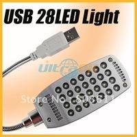 Good USB 28LED Mini Portable Light Lamp for laptop desktop PC silvery 57g 360degree rotating new free shipping NW
