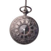 New Fashion Luxury Black Roman Skeleton Numeral Men Reloj Quartz Necklace Fob Chain Pocket Watch