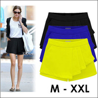 M-XXL 2014 Summer Fashion Womens Shorts Ruffles Trousers Culottes Short Skirt Plus Size Cotton Frill Light Chiffon Shorts