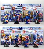 2014 Box Captain America  Action Figures 8PCS/Set  PVC Cute  The Avenger  Captain America Building Blocks  Free Shipping