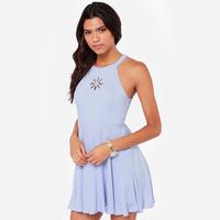 2014 new fashion hole open cut summer dress Daisy embroidery cutout back light blue sleeveless invisible zipper one-piece dress