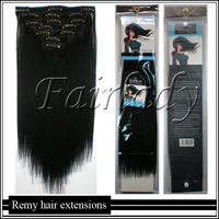 250g 10PCS16inch~26inch Brazilian Straight Virgin Clip in Human Hair Extensions REMY Clip ON#1 Jet BlackFull Head