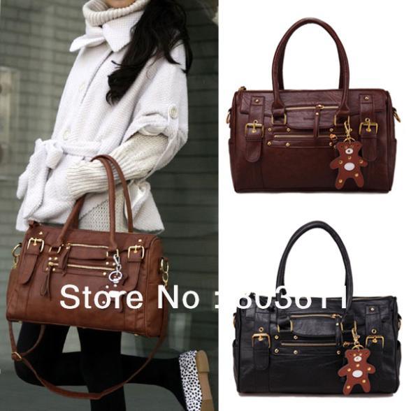 Good Women Ladies Fashion Korea Style PU Leather Zipper Closure