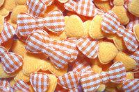 100pcs   Padded gingham Bow  fabric appliques trim - 22 x 10 mm Orange  color