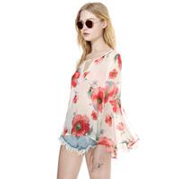 Fresh perspectivity flower long pleated ruffled sleeve chiffon shirt opening back open cut off summer blouse 2014