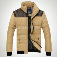 2014 Autumn and winter thin wadded jacket Men cotton-padded design short jacket wadded coat patchwork