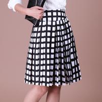 Autumn and winter high waist plaid sheds bust skirt ol puff skirt expansion skirt medium skirt pleated a-line skirt
