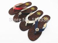 2014 fashion comfortable brand flat sandals flip flops shoes cow muscle women's shoes outsole plus size 41 Free ship