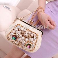 Women's handbag 2014 women's bags banquet gentlewomen fashion beaded bags clip chain bag Free Shipping