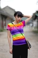 Gradient iridescent slim short sleeve summer all-match t shirt