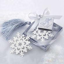 New Cute Snowflake Alloy bookmark Creative Exquisite ribbon box gift 05NV(China (Mainland))