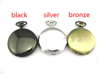 Fashion Large Size Antique Pocket Watches men Stainless Steel Retro Pendant Necklace with Long Chain Black Silver bronze 1pcs