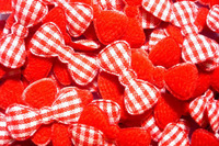 100pcs   Padded gingham Bow  fabric appliques trim - 22 x 10 mm  Red  color