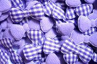 100pcs   Padded gingham Bow  fabric appliques trim - 22 x 10 mm  Purple  color