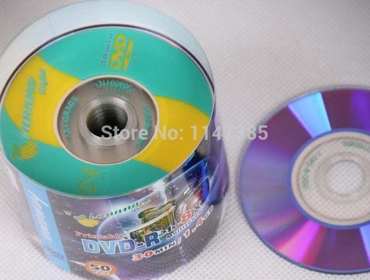 Wholesale 50discs/lot High Quality A+ Banana 3inch 8cm Mini DVD-R Blank Discs 8X 1.4GB 30MIN Mini DVDR DVD Recordable Disks(China (Mainland))