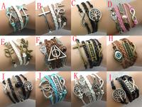 2014 New hot love Infinity cross bracelet Charm Wing Angel Cross Eye Leather Multilayer Bracelet jewelry for women