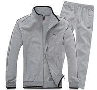2014 autumn new men's sports suit suits solid color cotton collar