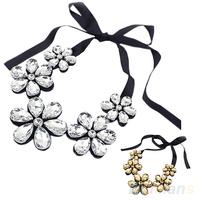 New Fashion exquisite Flower Ribbon Gem Petals charming Bib collar Necklace jewelry items 05FA