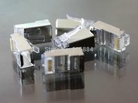 Free Shipping 50Pcs/lot Metal Shield RJ45 RJ-45 8P8C Network CAT5E CAT Modular Plug Connector