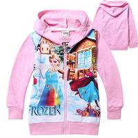 Free Shipping Hot 6pcs/lot Kids girls frozen hoodies coat baby kids girls frozen sweatshirts outerwear clothing autumn wholesale