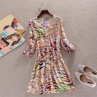 Spring Summer 2014 New Women Bohemian Leopard Print  Slim Three Quarter One-Piece Dress boemio vestido com estampa de leopardo