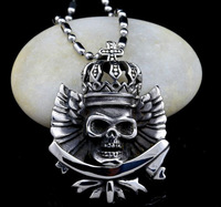 Wholesale Vintage Choker Men's Stainless Steel Skeleton Skull Crown Cross Pendant Necklace Chain