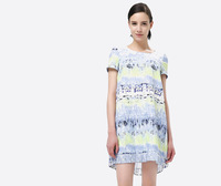 Brand New 2014 Fashion Ladies Gradual Change Painting Print Back Pleated Short Sleeve Dress Girl Dresses