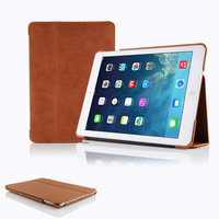 retro tan leather flip case with stand for ipad air new ipad 5