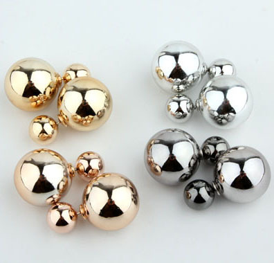 (Min order $5) Free shipping 2014 New Metal Pearl stud earring for women Gold/Silver/Gun Black colors AAA Fashion jewelry gift(China (Mainland))