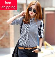 Spring Promotion 2014 New Sale Women's Asymmetrical Long-sleeve Vintage Shirt Female Patchwork Retro Blouses Innovative Items