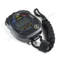 Wholesale 10pcs/lot High Quality Free Shipping Waterproof Professional Running Digital Stopwatch Sports Chronograph Timer Black
