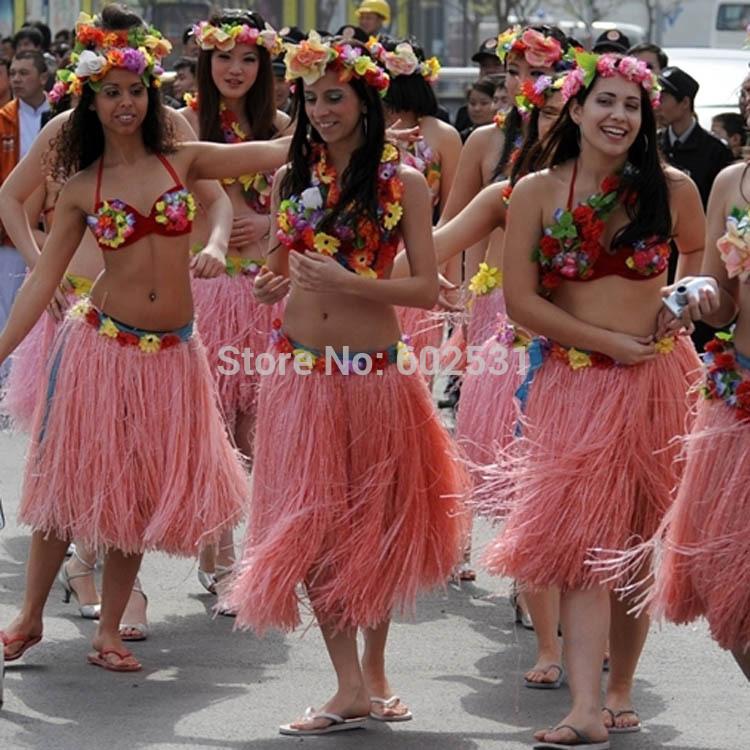 Grátis frete vestido da dança elástico na cintura dança grama pvc borlas saia havaiano hula desfile de moda crianças terno 60 cm - 100 g(China (Mainland))