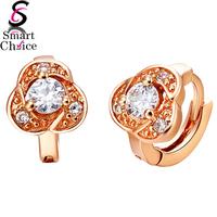 Wedding Women Earrings 18K Rose Gold/Platinum Plate Genuine SWA Elements Austrian Crystal Rose Flower Earring