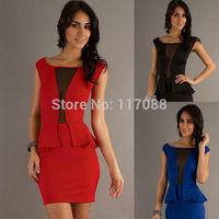 2014 Free Shipping Cheap Price Red Peplum Dress New Fashion Sexy Party Mini Dress Vestidos De Fiesta