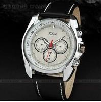 Fashion boutique leather men watch quartz watch fake three pointer