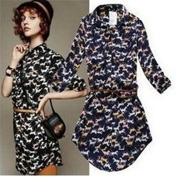 Casual Modern Slim Brand Designer Top Shirt New Fashion Women s Cute Horse  Print Long Chiffon. New Top Designs