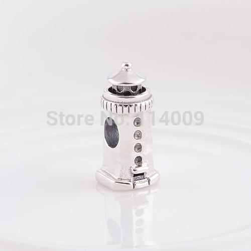 Terrific 925 Sterling Silver Watch Tower Big Hole Charm Bead For European Brand DIY Pandora Style