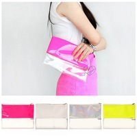 2014 Summer fashion Neon patchwork transparent handbags,day clutches purse,clear mini evening bags,25x19cm4colors